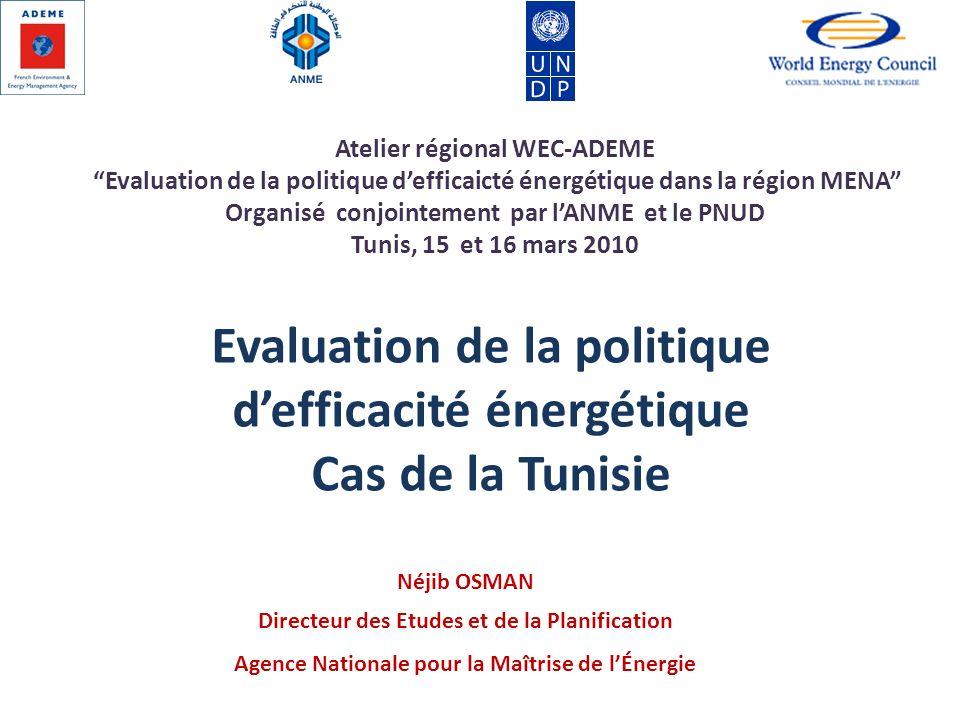 Evaluation de la politique d'efficacité énergétique Cas de la Tunisie