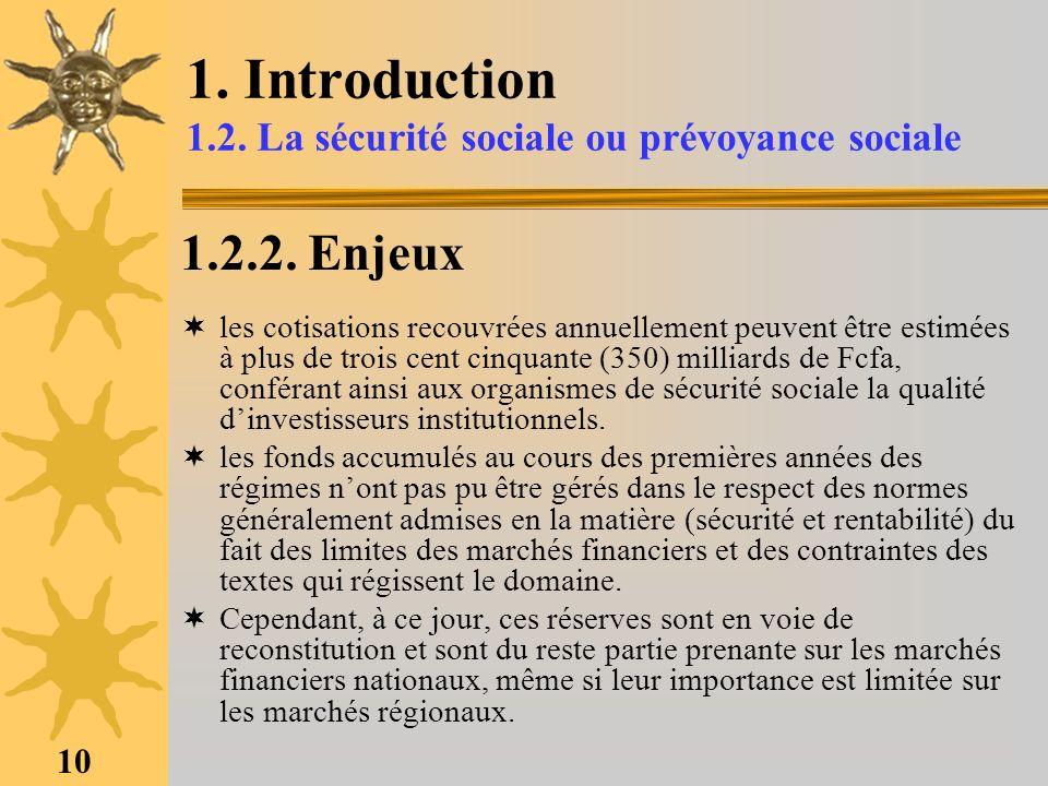 1. Introduction 1.2. La sécurité sociale ou prévoyance sociale