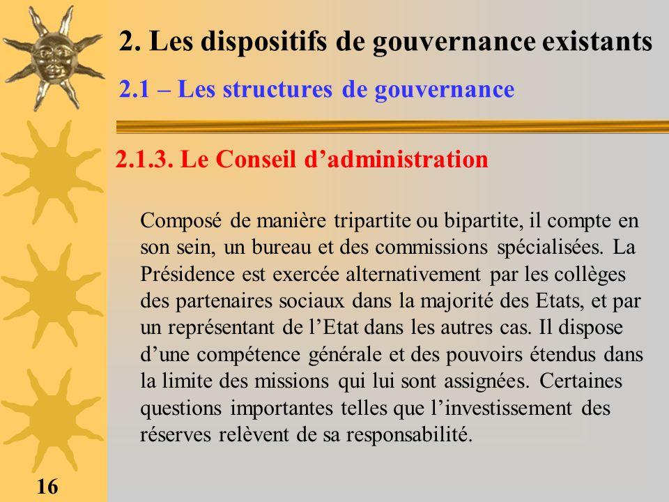 2. Les dispositifs de gouvernance existants 2