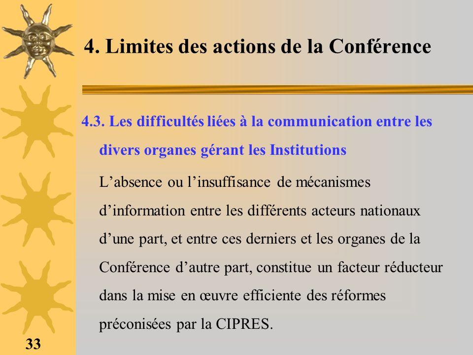 4. Limites des actions de la Conférence