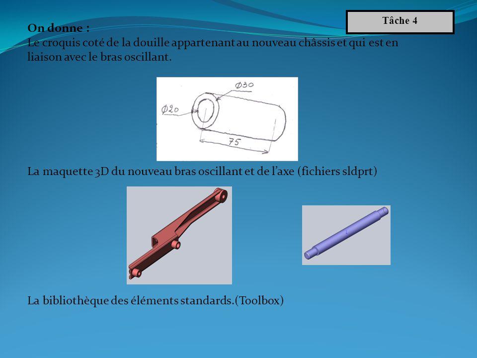 La maquette 3D du nouveau bras oscillant et de l'axe (fichiers sldprt)