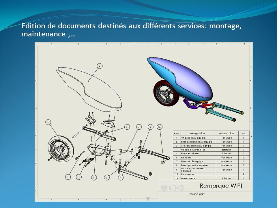 Edition de documents destinés aux différents services: montage, maintenance ,…