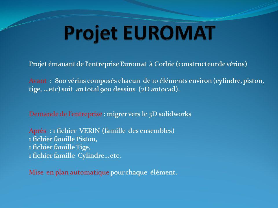 Projet EUROMAT Projet émanant de l'entreprise Euromat à Corbie (constructeur de vérins)