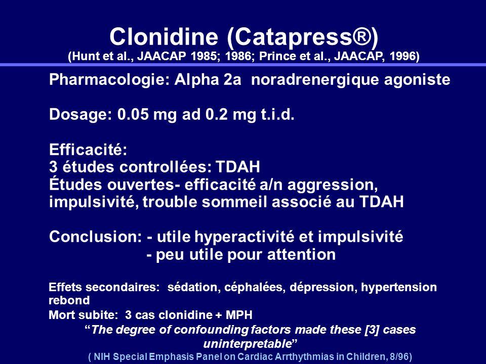 Clonidine (Catapress®) (Hunt et al. , JAACAP 1985; 1986; Prince et al