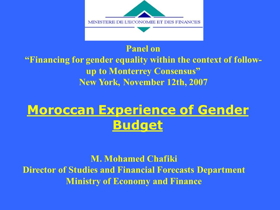 Moroccan Experience of Gender Budget