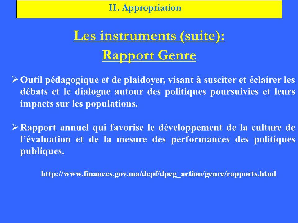 Les instruments (suite):