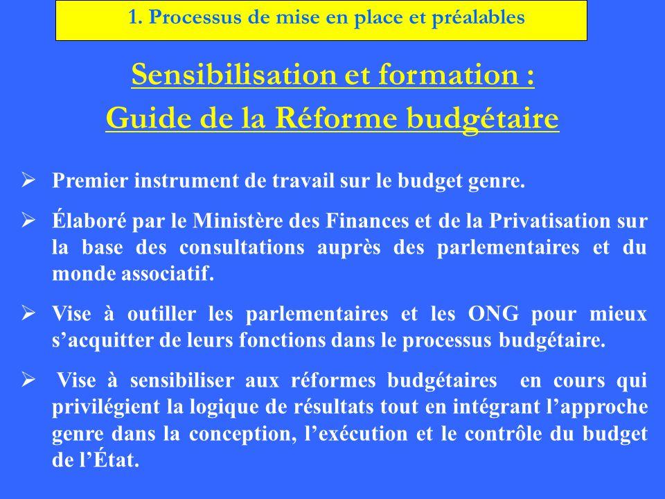 Sensibilisation et formation : Guide de la Réforme budgétaire