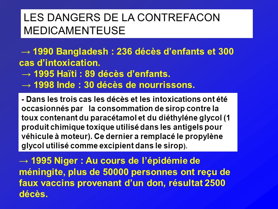 LES DANGERS DE LA CONTREFACON MEDICAMENTEUSE