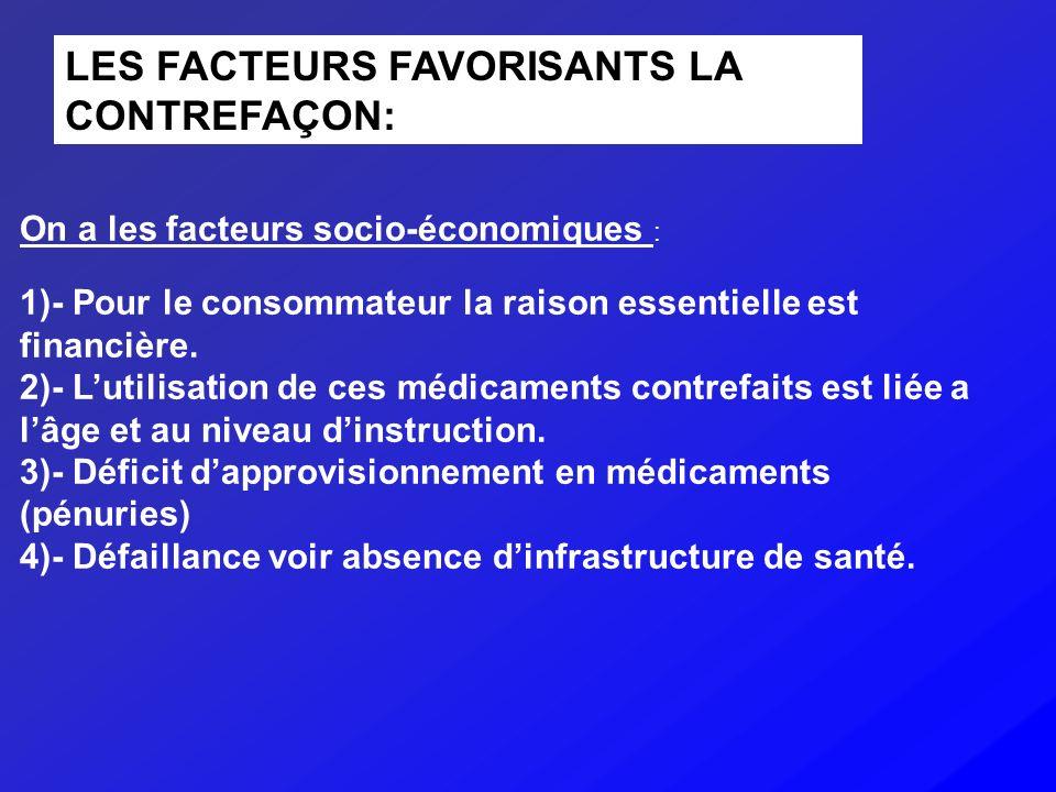 LES FACTEURS FAVORISANTS LA CONTREFAÇON:
