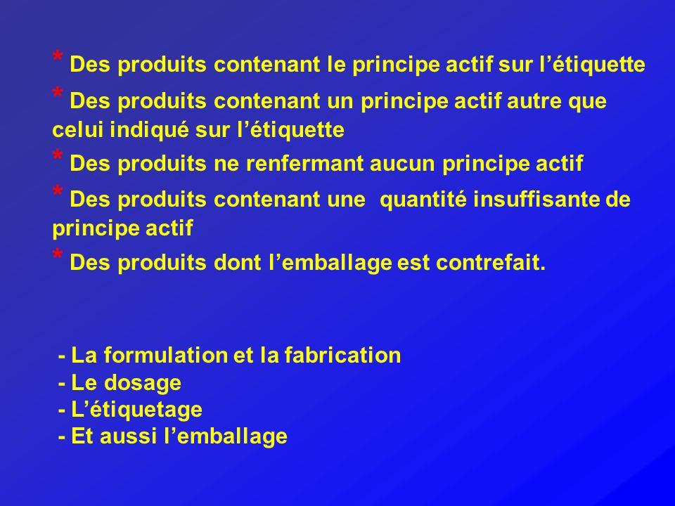 * Des produits contenant le principe actif sur l'étiquette