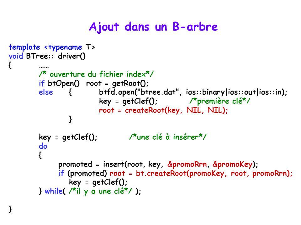 Ajout dans un B-arbre template <typename T>