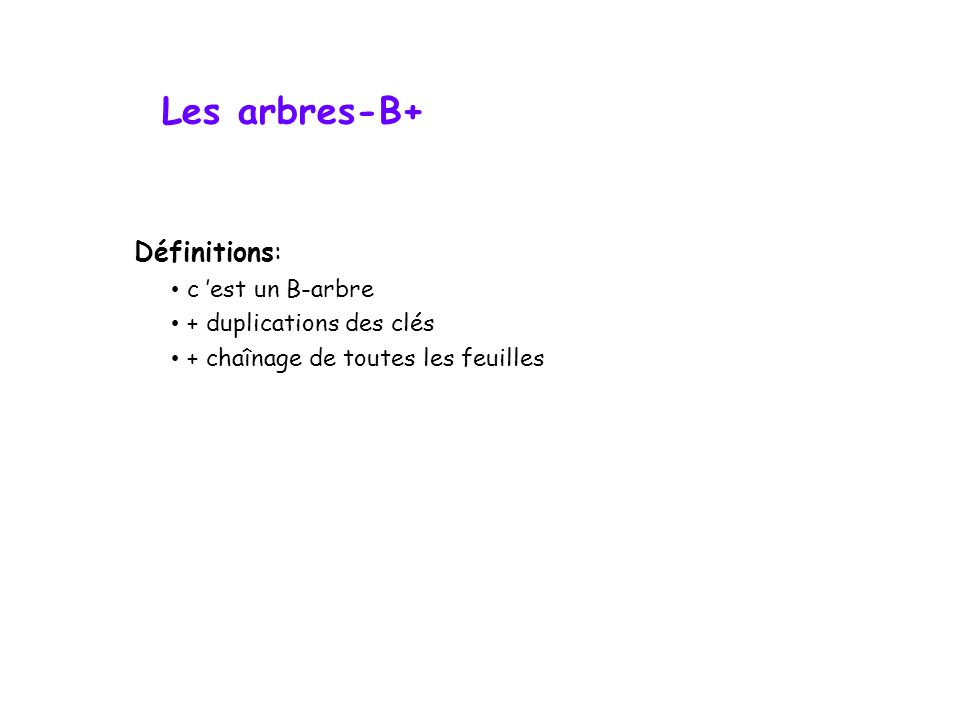 Les arbres-B+ Définitions: c 'est un B-arbre + duplications des clés