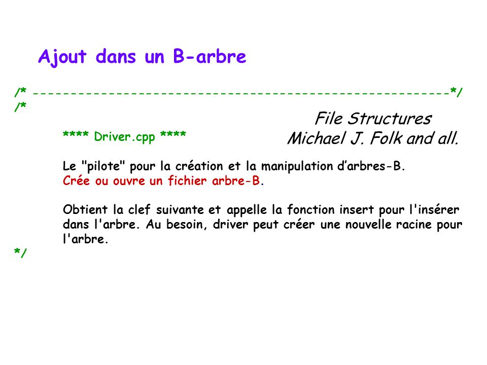 Ajout dans un B-arbre File Structures Michael J. Folk and all.