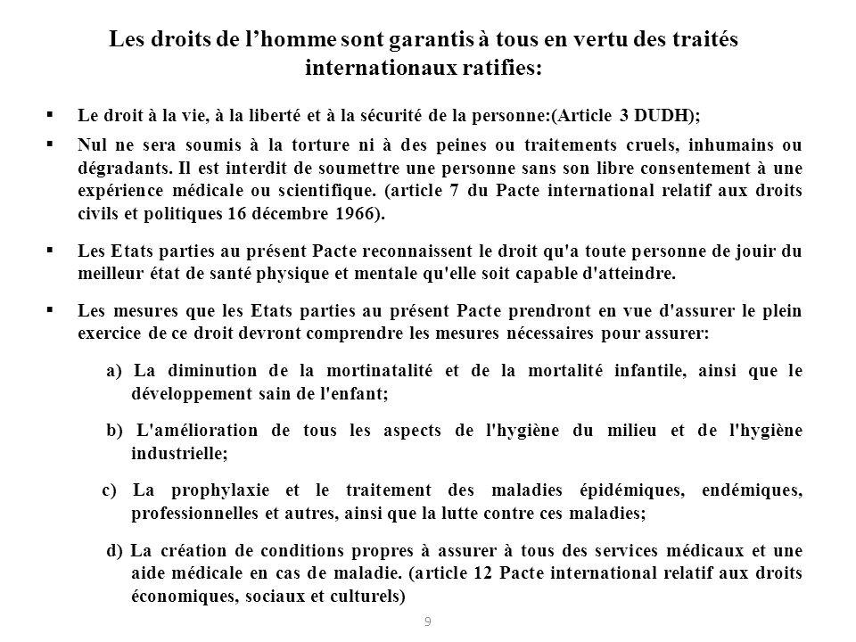 Les droits de l'homme sont garantis à tous en vertu des traités internationaux ratifies: