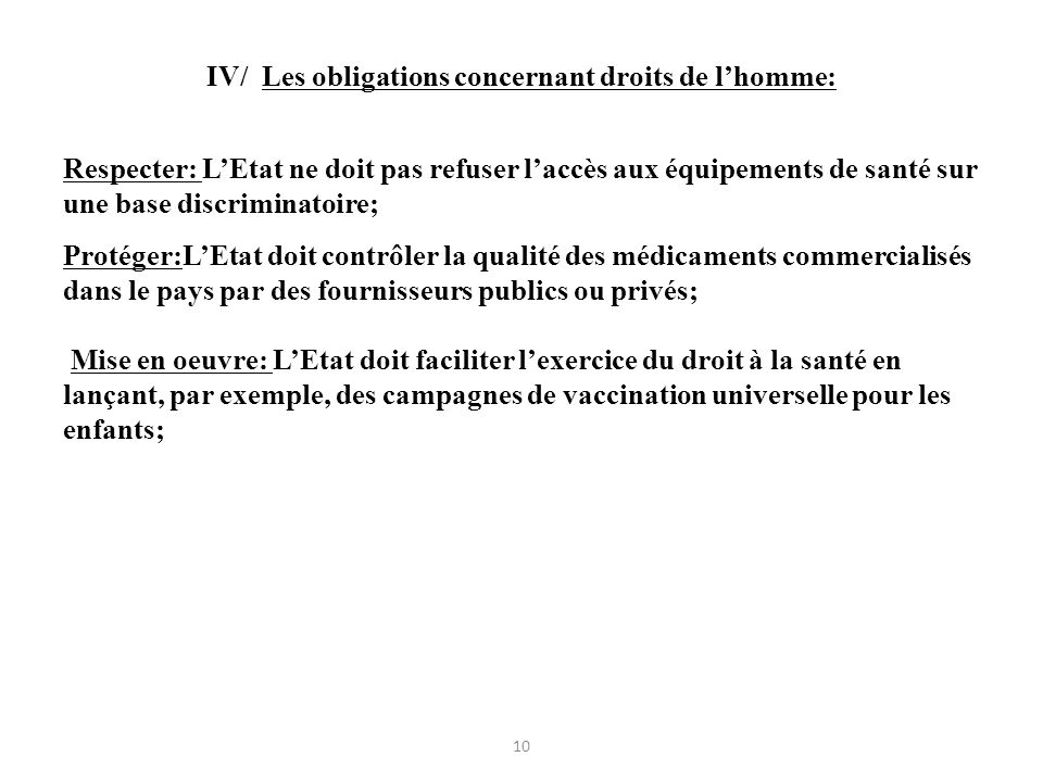 IV/ Les obligations concernant droits de l'homme: