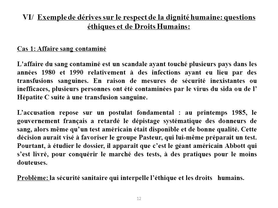 VI/ Exemple de dérives sur le respect de la dignité humaine: questions éthiques et de Droits Humains: