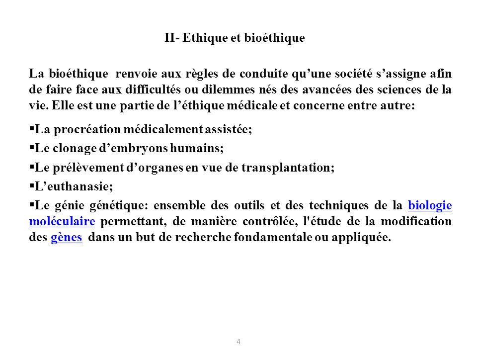 II- Ethique et bioéthique