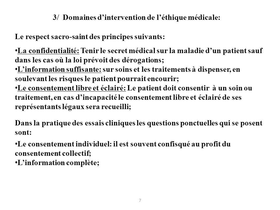 3/ Domaines d'intervention de l'éthique médicale: