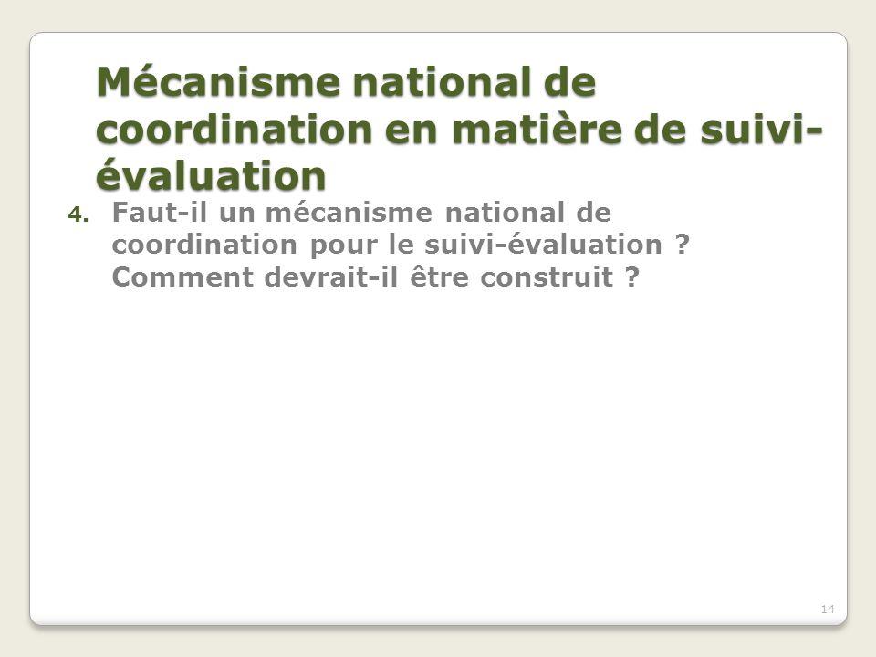Mécanisme national de coordination en matière de suivi-évaluation