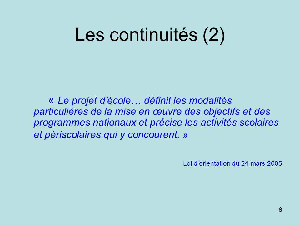 Les continuités (2)