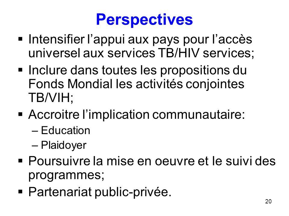 Perspectives Intensifier l'appui aux pays pour l'accès universel aux services TB/HIV services;