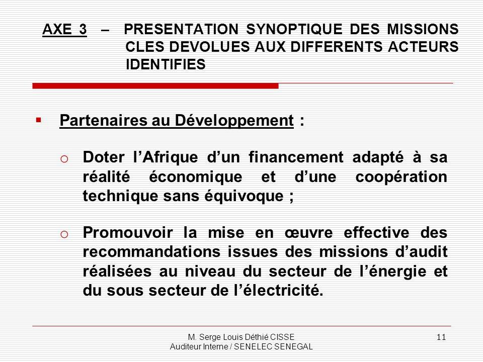 Partenaires au Développement :