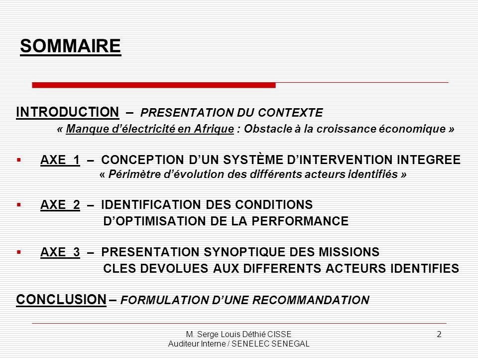 SOMMAIRE INTRODUCTION – PRESENTATION DU CONTEXTE