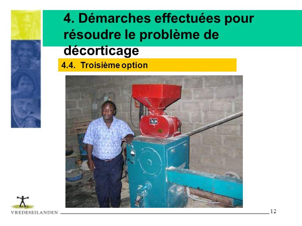 4. Démarches effectuées pour résoudre le problème de décorticage