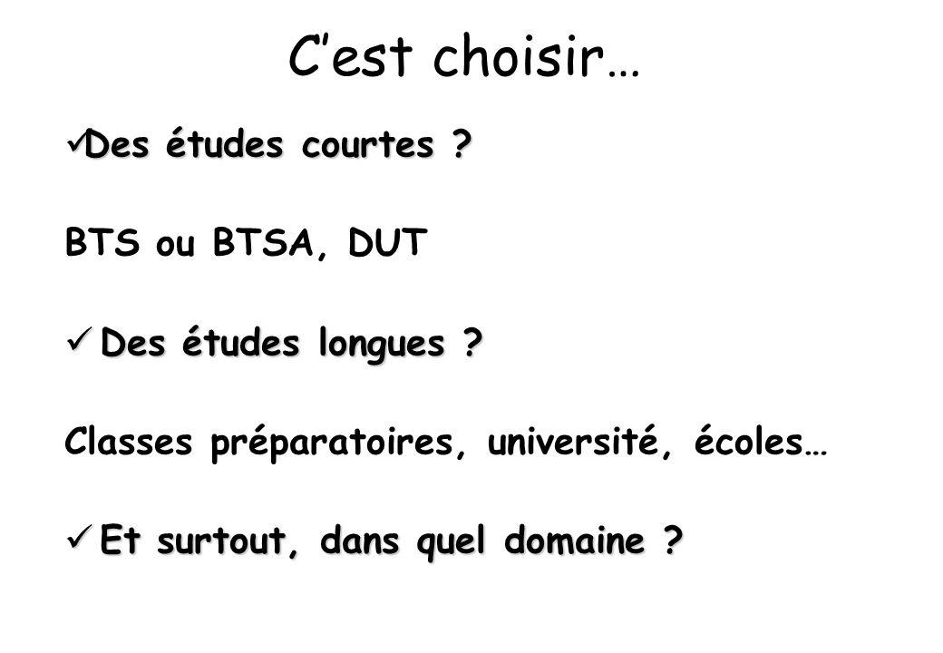 C'est choisir… Des études courtes BTS ou BTSA, DUT