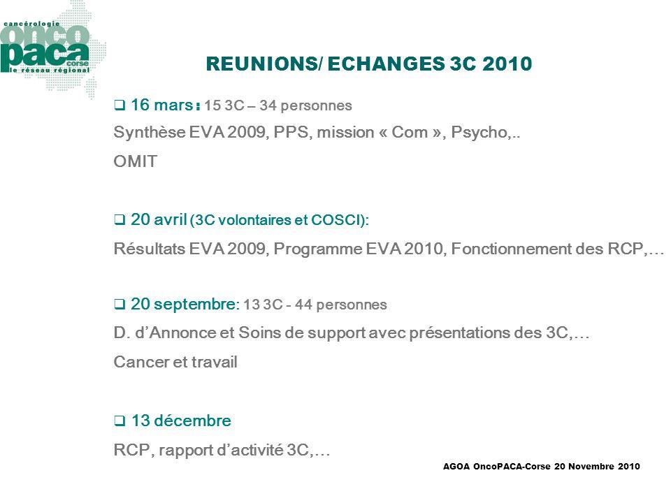 REUNIONS/ ECHANGES 3C 2010 16 mars : 15 3C – 34 personnes. Synthèse EVA 2009, PPS, mission « Com », Psycho,..