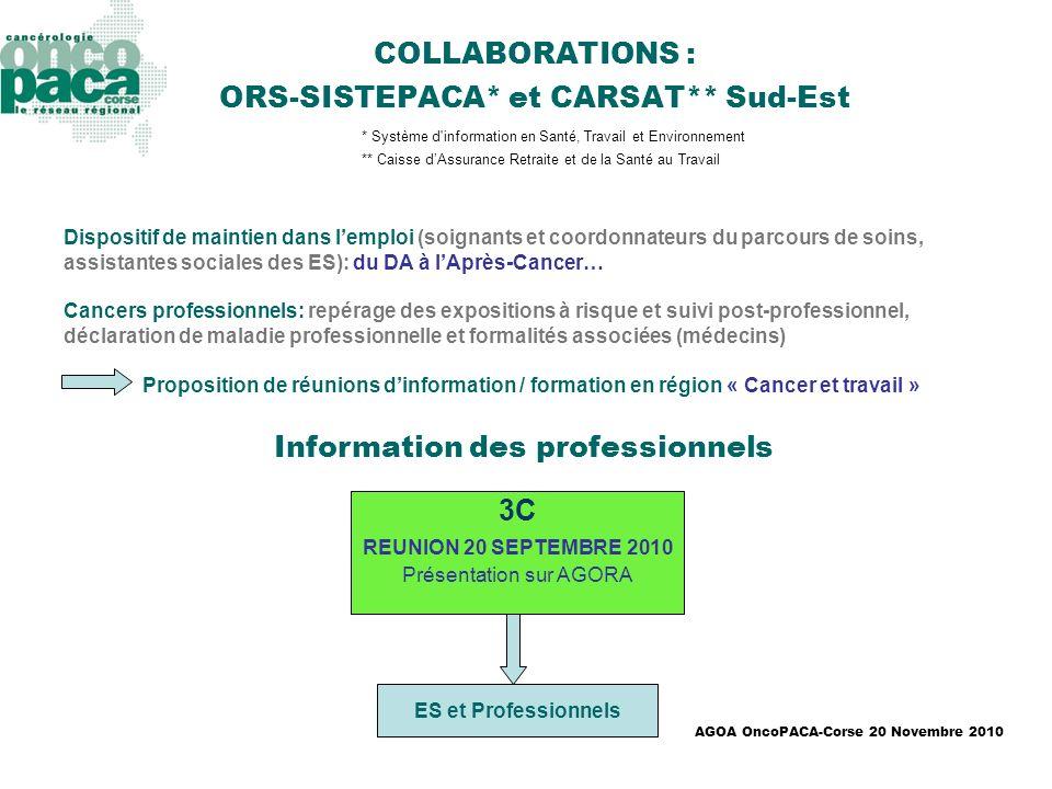 COLLABORATIONS : ORS-SISTEPACA* et CARSAT** Sud-Est
