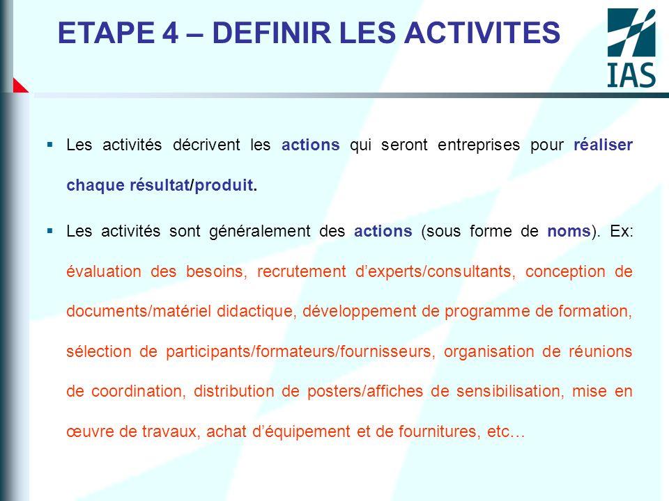 ETAPE 4 – DEFINIR LES ACTIVITES