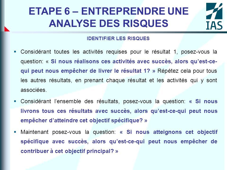 ETAPE 6 – ENTREPRENDRE UNE ANALYSE DES RISQUES IDENTIFIER LES RISQUES