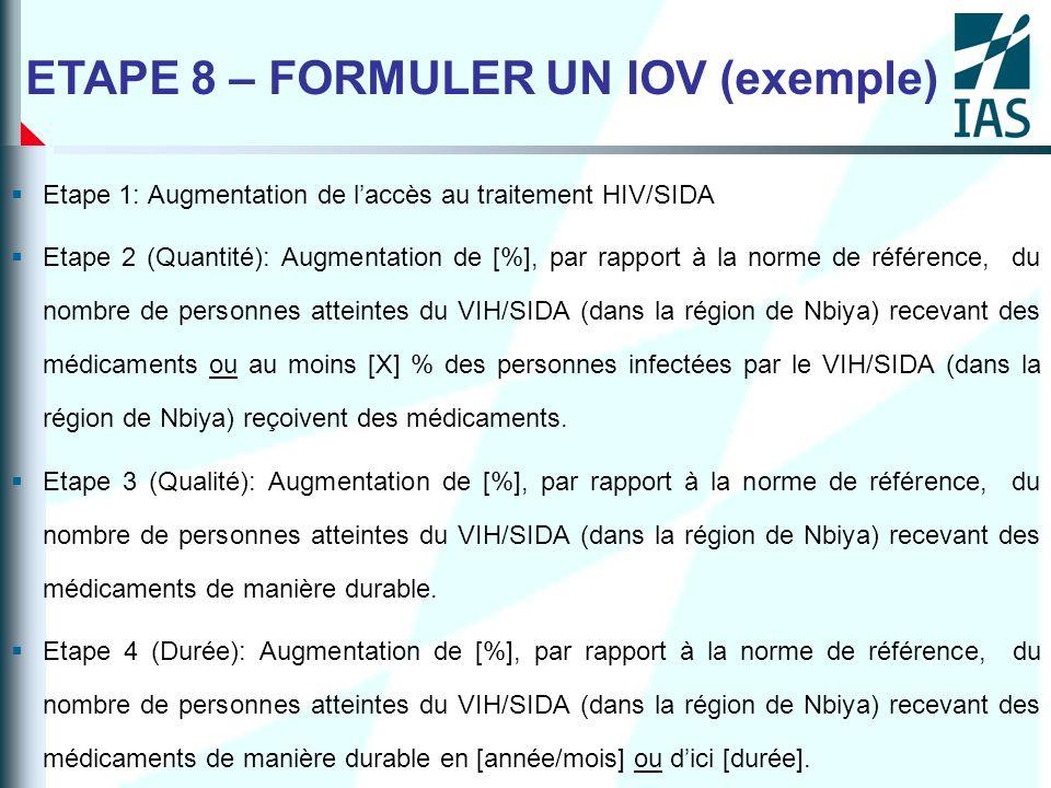 ETAPE 8 – FORMULER UN IOV (exemple)