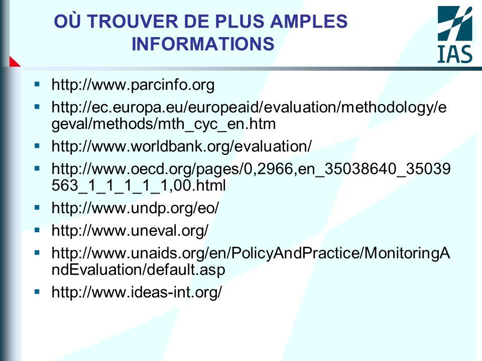 OÙ TROUVER DE PLUS AMPLES INFORMATIONS