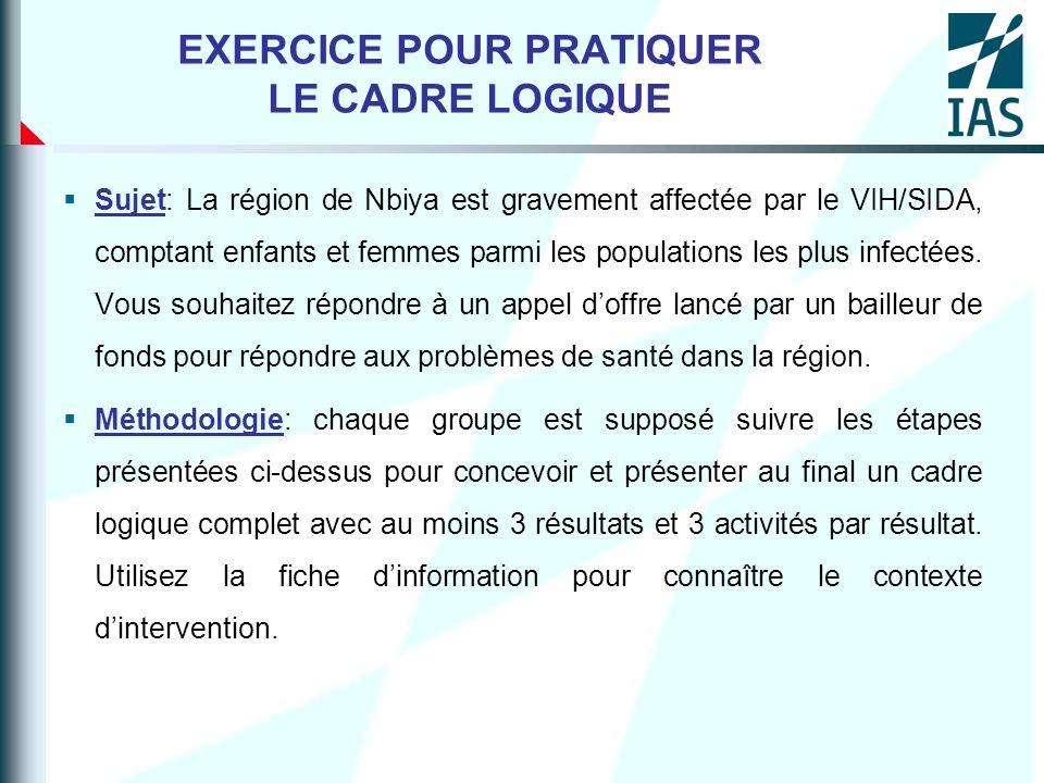 EXERCICE POUR PRATIQUER LE CADRE LOGIQUE