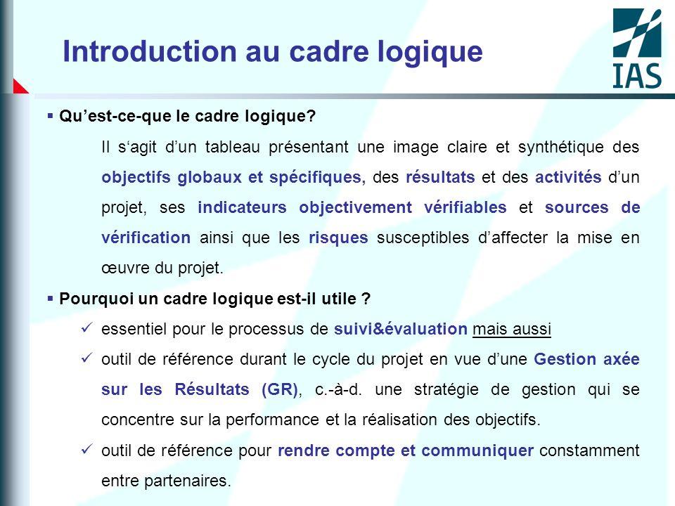 Introduction au cadre logique