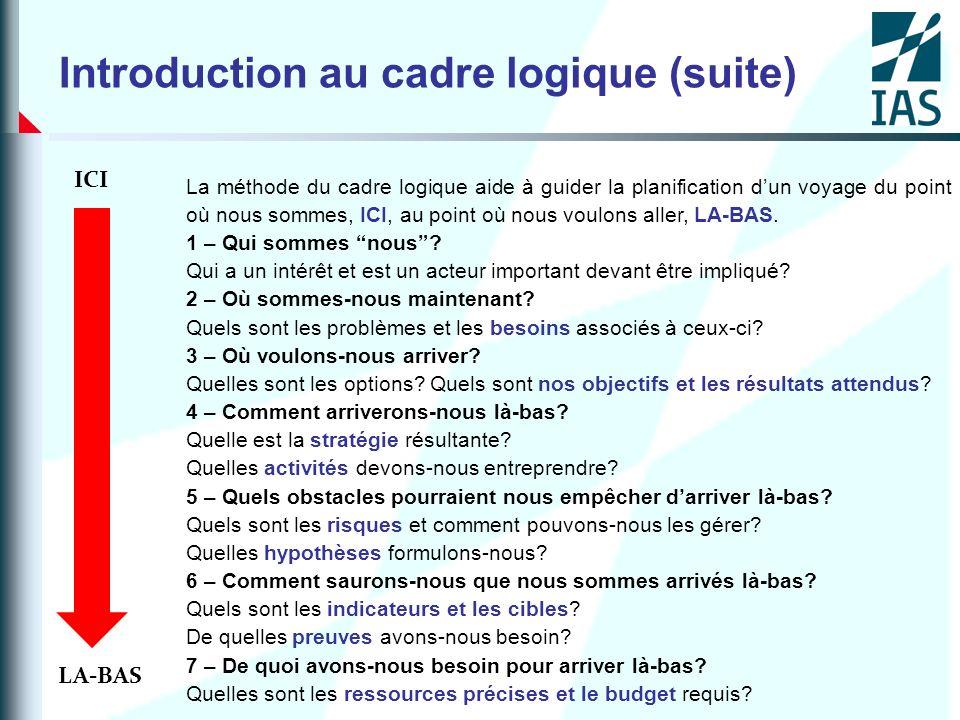 Introduction au cadre logique (suite)