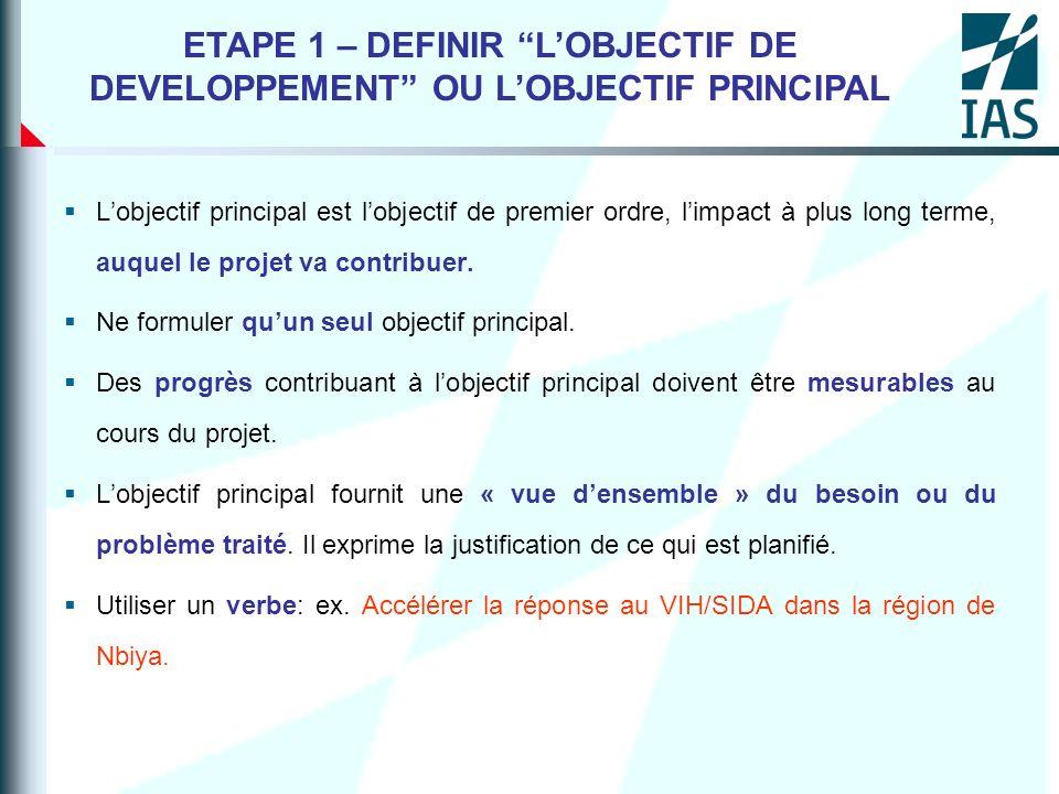 ETAPE 1 – DEFINIR L'OBJECTIF DE DEVELOPPEMENT OU L'OBJECTIF PRINCIPAL