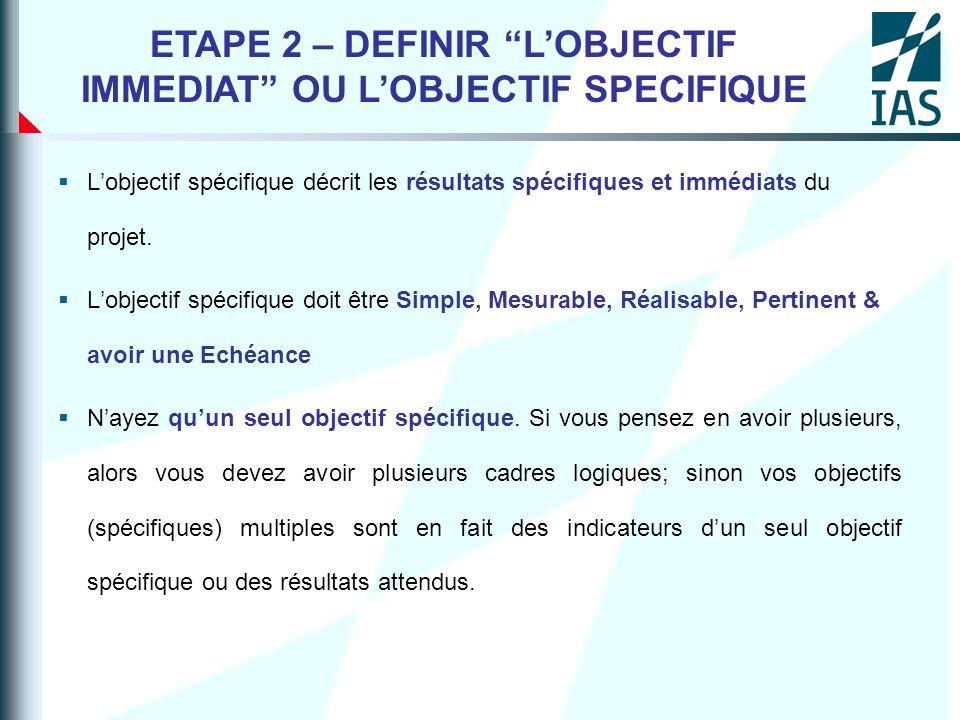 ETAPE 2 – DEFINIR L'OBJECTIF IMMEDIAT OU L'OBJECTIF SPECIFIQUE