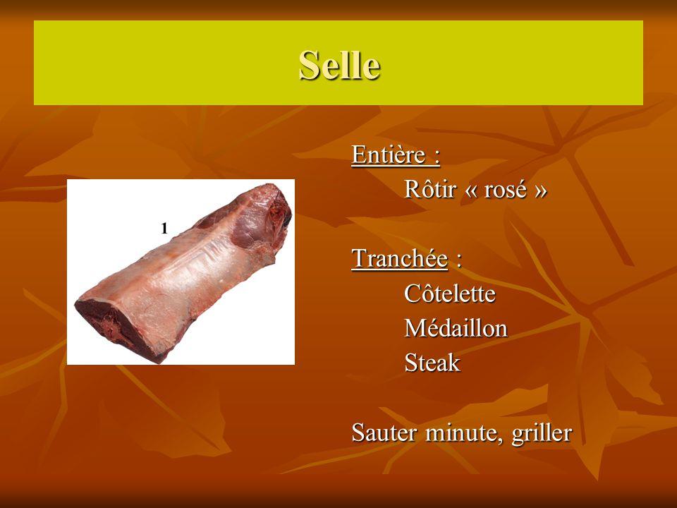 Selle Entière : Rôtir « rosé » Tranchée : Côtelette Médaillon Steak