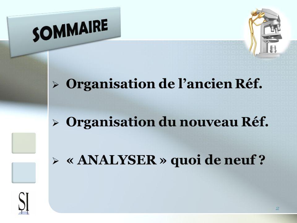 SOMMAIRE Organisation de l'ancien Réf. Organisation du nouveau Réf.