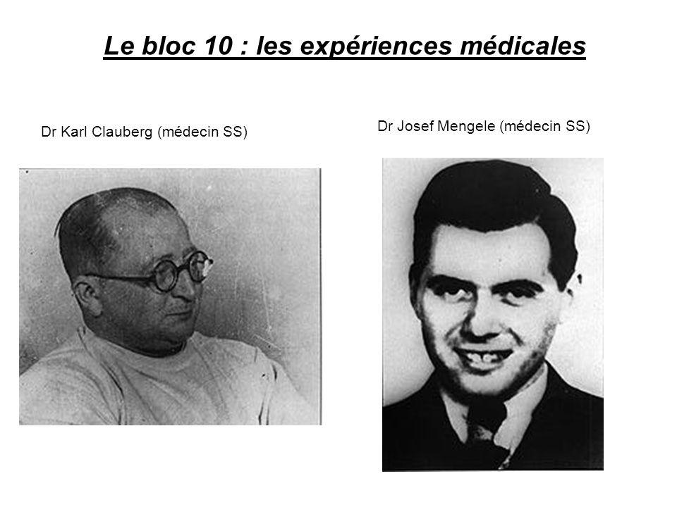 Le bloc 10 : les expériences médicales