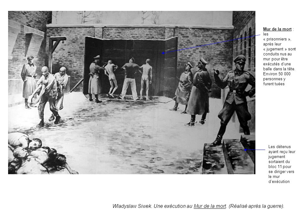 Mur de la mort : les « prisonniers », après leur « jugement » sont conduits nus au mur pour être exécutés d'une balle dans la tête. Environ 50 000 personnes y furent tuées