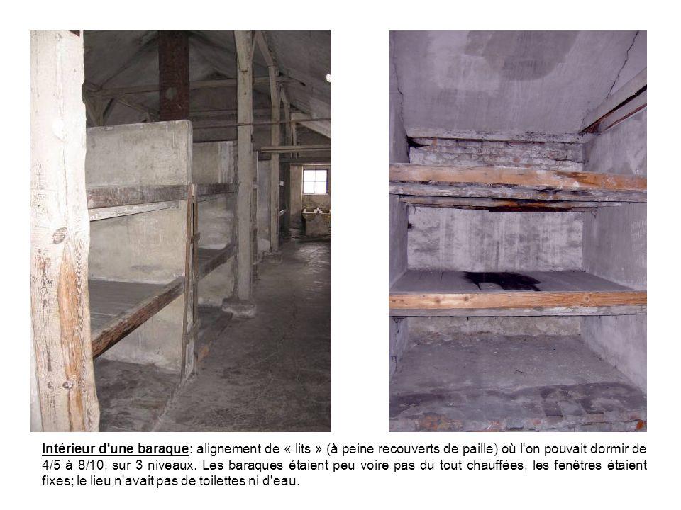 Intérieur d une baraque: alignement de « lits » (à peine recouverts de paille) où l on pouvait dormir de 4/5 à 8/10, sur 3 niveaux.