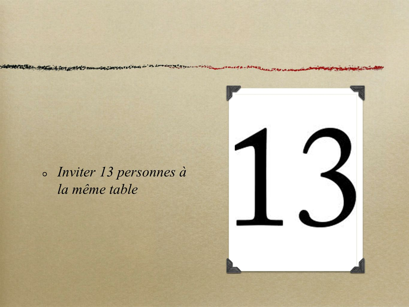 Inviter 13 personnes à la même table