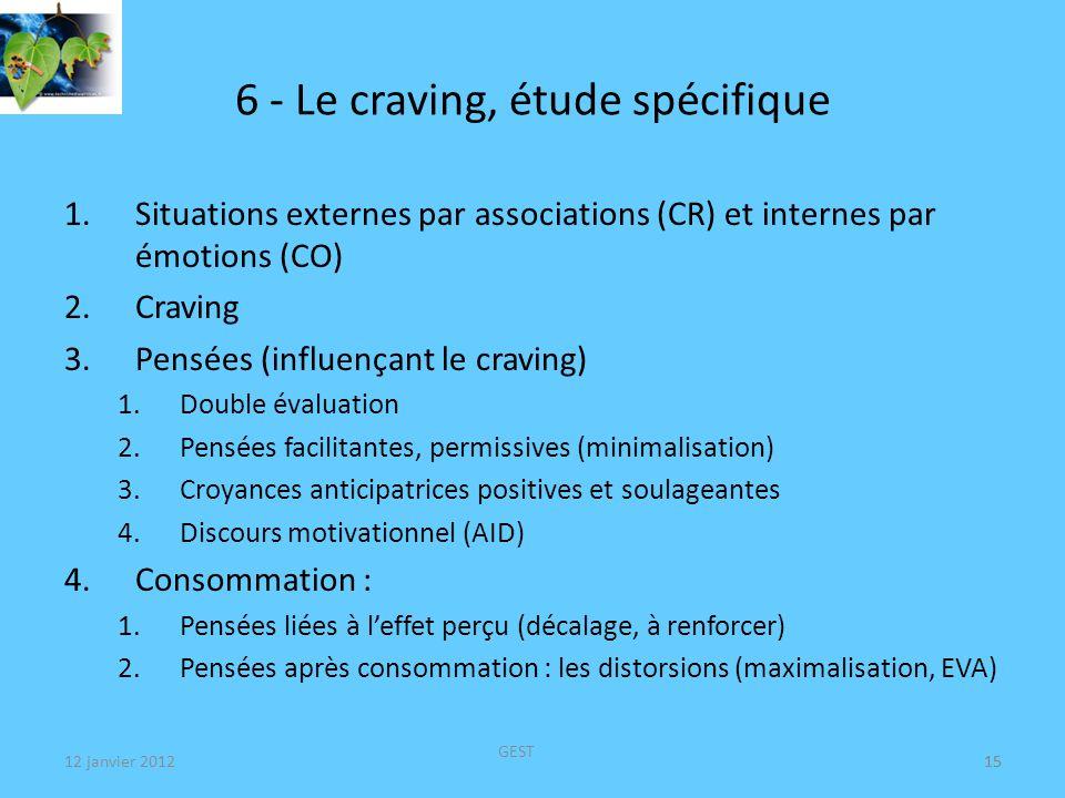 6 - Le craving, étude spécifique