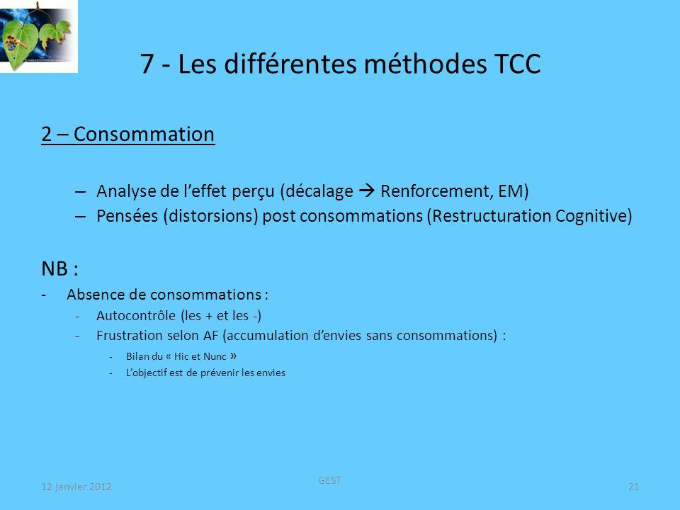 7 - Les différentes méthodes TCC