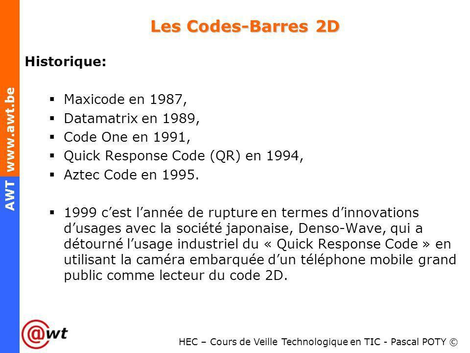 Les Codes-Barres 2D Historique: Maxicode en 1987, Datamatrix en 1989,