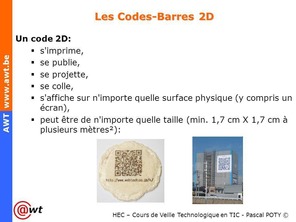 Les Codes-Barres 2D Un code 2D: s imprime, se publie, se projette,